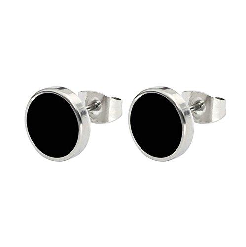 BeyDoDo Modeschmuck 1 Paar Edelstahl Ohrringe für Damen Herren 6MM Ohrstecker Ohrringe Schwarz Silber