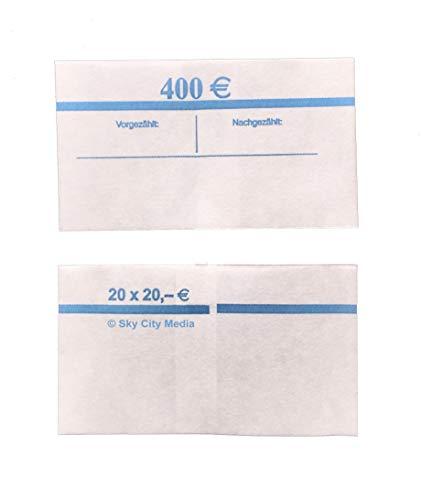 Banderolen für Euro Geldscheine je 50x (20 € Banderole) Geldbanderole Papier für Geldbündel Fassungsvermögen je 20 Scheine