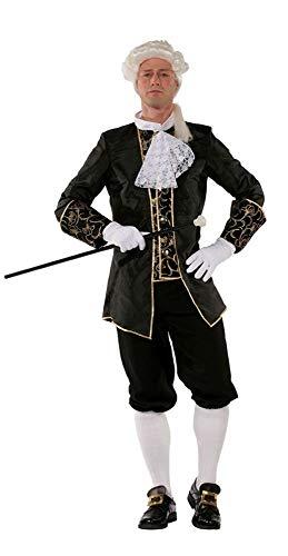 shoperama Marquis Herren Barock Rokoko Kostüm TAFT Anzug GRAF Adliger französisch Renaissance de Sade Karneval, Farbe:Schwarz, Größe:54