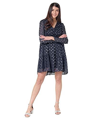 Naf Naf FOIL R1 Robe Femme Bleu (Bleu Marine 567) 44 (Taille fabricant: 44) lot de