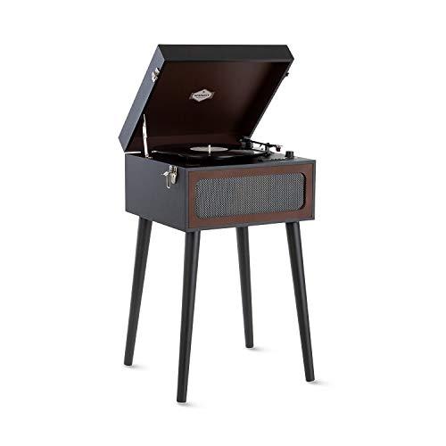 AUNA Sarah Ann Platine Vinyle, pour disques 33, 45 et 78 t/MN, Design Mallette avec Pieds Amovibles, Enceintes stéréo, Port USB, Lecteur de Carte SD, Bluetooth - Marron