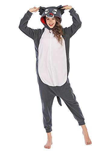 LBJR Unisex Erwachsene Fasching Halloween Kostüm Jumpsuit Onesie, Wolf Pyjama, Grau, S(146cm-159cm)