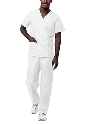 Sivvan Tenue Médicale Unisexe Classique - Blouse Col en V & Pantalon à Cordon - S8400 - White - L