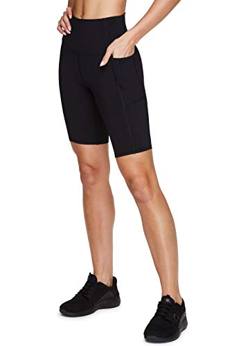 RBX Active Women's 9' Solid Ultra Hold High Waist Squat Proof Yoga Bike Short with Pockets Black 9-Inch S