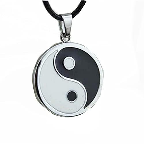 Acero inoxidable Yin Ying Yang Collar colgante Collar blanco negro Hombres Collares de cuero Joyería Vintage
