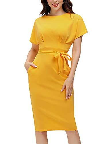 JASAMBAC Women's 50s 60s Office Pencil Dresses Summer Short Sleeve Yellow Sheath Dress Knee Length Yellow M