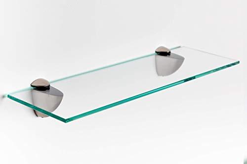 Elisando Glasregal klar 70 x 15 cm | 6 mm stark | Wandregal mit Halterung | Glasablage...