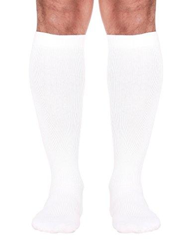 Compression Travel Socks For Men - Made in USA (Medium, White) medical travel socks, fly socks, DVT Prevention, coach class syndrome by Mojo Compression socks