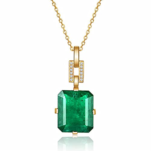 CHENLING Vintage moda verde cristal esmeralda piedras preciosas diamantes colgantes collares para las mujeres 18k oro color gargantilla joyería bijoux bague