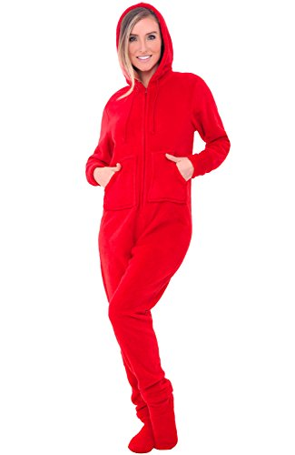 (Product) RED Women's Warm Fleece One Piece Footed Pajamas, Adult Onesie with Hood, XS Red (A0322REDXS)