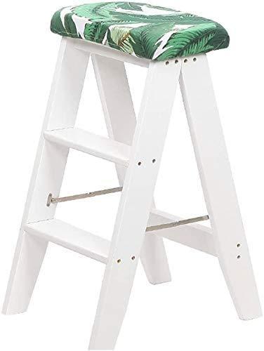 TYT Mehrzweck-Klapphocker, Tritthocker/Holzleiter 4 Stufen Kiefernstühle Indoor-Trittleiter Mit Doppeltem Verwendungszweck Weißer Küchenhocker Kleine Leiter
