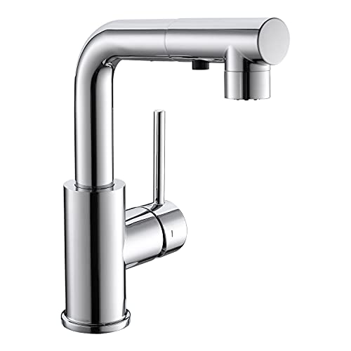 CREA Sink Faucet, Kitchen Faucets with Pull Out Sprayer, Bar Bathroom Sink Faucets Single Hole 3 Hole Mini Prep Faucet with Magnetic Docking Laundry Farmhouse Utility Faucet, Chrome