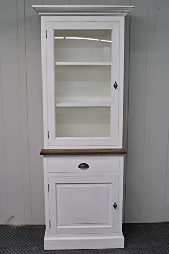 Nijwie Furniture Armario con vitrina de estilo rústico, madera de teca maciza...