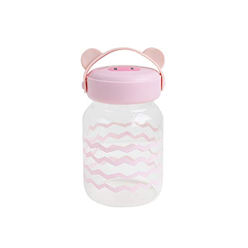 WWZL Cartoon Glass Cup 10.8OZ (320ml) capacità Portatile Cute Pink Pig Glass Mug Sicuro Trasparente Alto Borosilicato Materiale-Silicone Protezione Termica Portatile (Color : Pink)