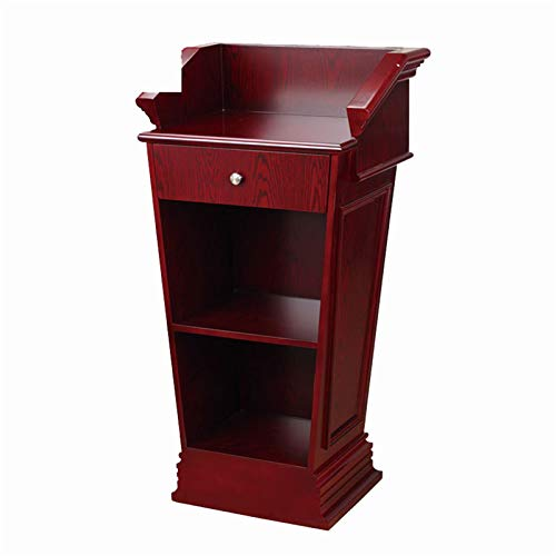 KCCCC Simple Lecterns Desk Lecture Podium Heavy Duty Commercial Podium Wooden Speaking Lectern with Drawer and Large Storage Area Speaking Office Lecterns (Color : Red, Size : 67x50x123cm)