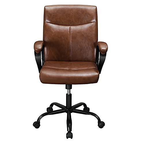 Leder Bürostuhl Braun Schreibtischstuhl, Arbeitsstuhl Ergonomisch testsieger Chefsessel mittlerer Rückenlehne, Höhenverstellbar Drehstuhl mit gepolsterter Armlehne