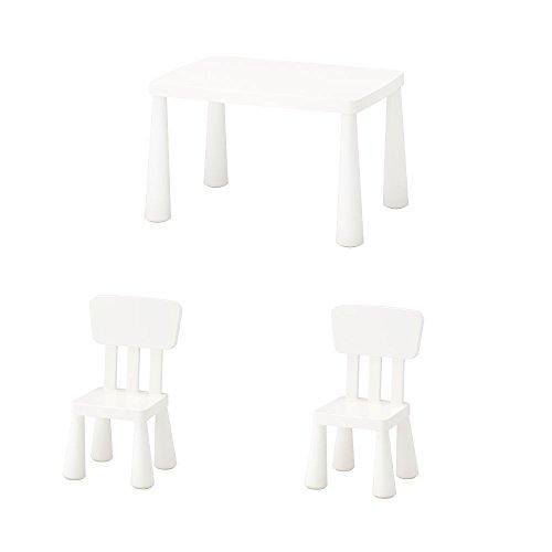 Unbekannt IKEA Mammut - Mesa infantil y 2 sillas para niños en color blanco ⭐