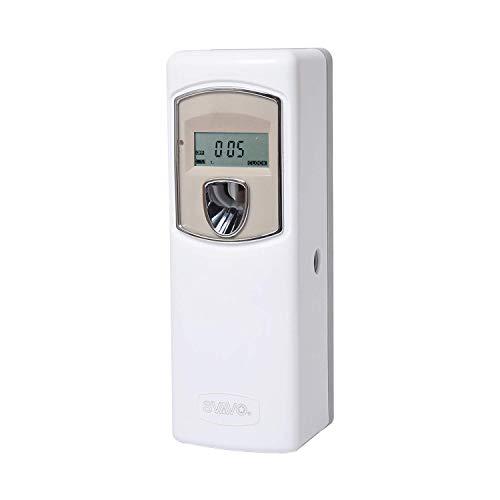 SVAVO Dispensador automático de ambientador LCD, para montaje en la pared/libre de fragancia en aerosoles programables para baño, dormitorio, hotel, oficina, lugar comercial, color blanco