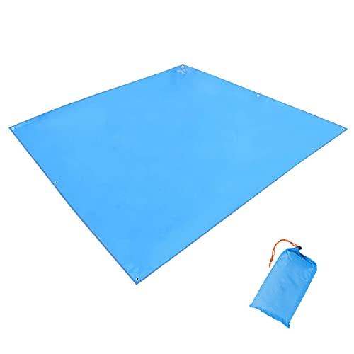 TRIWONDER Tapis de Sol Camping 215 x 215 cm Tarp Ultra Léger Bâche de Tente Anti-Pluie Imperméable Abri de Randonnée pour Pique-nique Plage (Bleu - 215 x 215 cm)