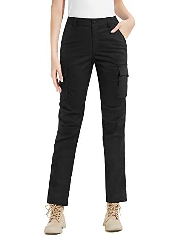 KUTOOK Pantalones de Trabajo Pantalón Laboral Mujer Pantalon Cargo Montaña Softshell Senderismo Trekking Funcional Negro L