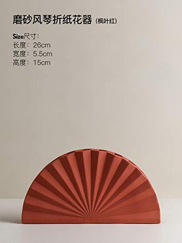 Ksnrang Florero nórdico Creativo Morandi diseño de Origami de cerámica arreglo Floral Arte Porche de Escritorio decoración del hogar Floral-Flor de Origami de órgano Helado (Hoja de Arce roja)