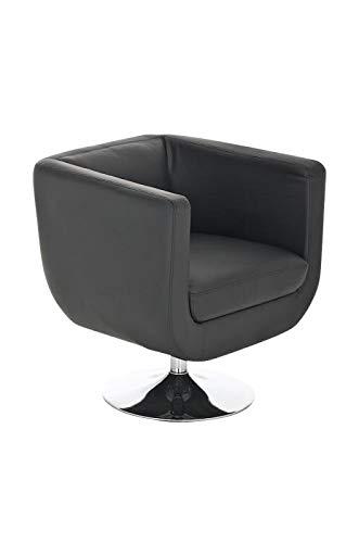 CLP Butaca de Salón Colorado V2 en Cuero PU | Silla Diseño Retro I Sillón Giratorio con Base Metálica | Silla Estilo Lounge Acolchada I Color: Negro