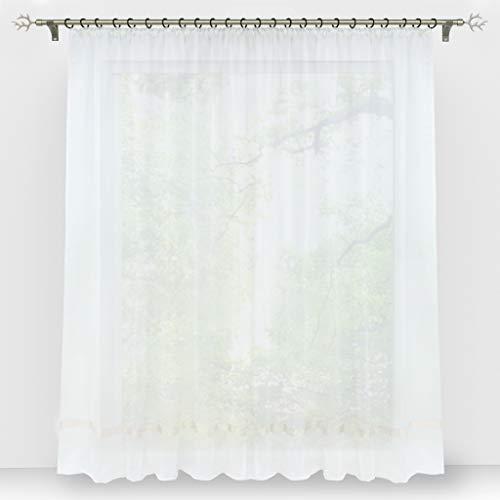 HongYa Stores Voile Gardine Schal Transparenter Vorhang mit Satinband Kräuselband H/B 145/300 cm Weiß
