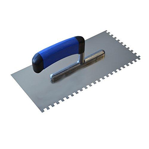 DEWEPRO® Zahnkelle - Zahnspachtel - Glättekelle gezahnt - Zahnung: 6x6mm - Zahnglättekelle - Modell PROFI
