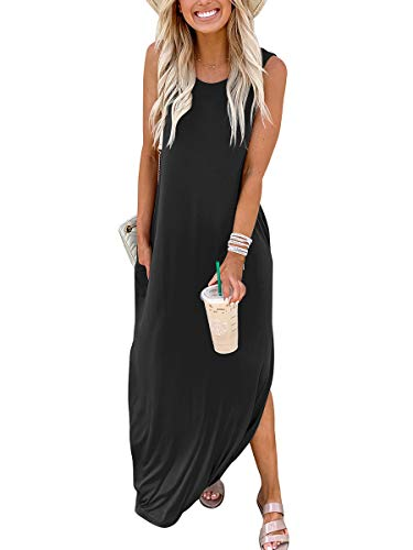Prinbara Women's Summer Maxi Dress Casual Loose Pockets Long Dress Sleeveless Split Maxi Dresses Black APA19-heise-L