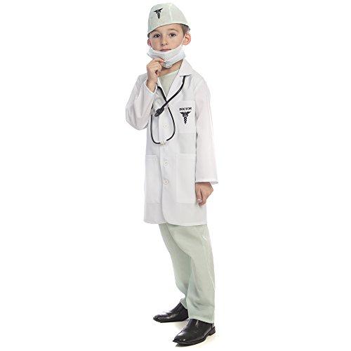 Dress Up America Ensemble de déguisement de docteur de luxe, 207G-S, Blanc, taglia 4-6 anni (Vita: 71-76, Altezza: 99-114 cm)