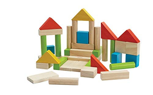 PlanToys Wooden Building Blocks - 40 Unit Blocks Natural and with Color (5513)   Sustainably Made from Rubberwood and Non-Toxic Paints and Dyes