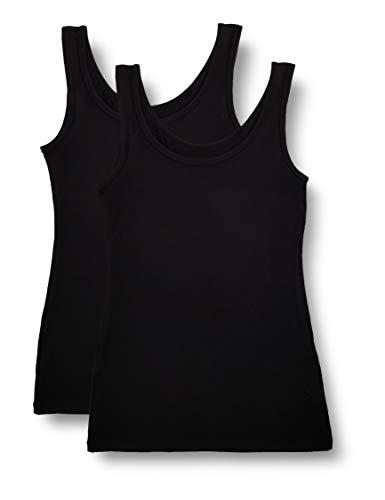 Marca Amazon - IRIS & LILLY Camiseta Interior Térmica Ligera de Tirantes para Mujer, Pack de 2, Negro (Black), XL, Label: XL