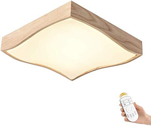 Houten plafondlamp moderne eenvoudige woonkamer plafond lamp slaapkamer lamp studie restaurant balkon Aisle ingang acryl cover led plafondlamp (kleur: traploos dimmen, grootte: 42CM 24W)