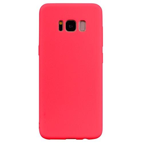 cuzz Funda para Samsung Galaxy S8+{Protector de Pantalla de Vidrio Templado} Carcasa Silicona Suave Gel Rasguño y Resistente Teléfono Móvil Cover-Rojo