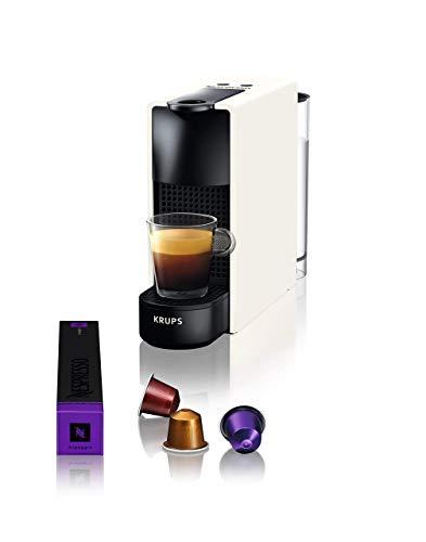 Nespresso Krups Essenza Mini XN1101 - Cafetera Monodosis De Cápsulas Nespresso, Compacta, 19 Bares, Apagado Automático, Color Blanco (Pack Cápsulas Bienvenida Incluido)
