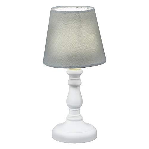 LED Tischleuchte mit weißem Lampenfuß und farbigen Stoff-Lampenschirm im Nostalgiedesign H 25 cm mit Batteriebetrieb (1 x Tischleuchte grau)