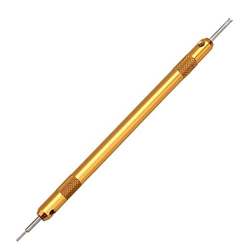 Removedor de eslabones de correa de reloj con mango de aluminio, destornillador de barra de resorte portátil Herramienta de reparación de reloj dorado con mango de diseño ergonómico Una herramienta pr