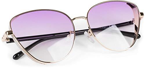 styleBREAKER Occhiali da sole in stile Cat Eye da donna con decorazioni glitter sulle lenti, occhiali in policarbonato, forma a occhio di gatto 090201