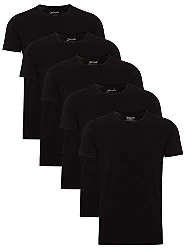 Yazubi 5er Pack Baumwollshirt T-Shirt Basic Arbeits Shirt Herren Schwarz Medium Tshirt Männer Rundhalsausschnitt Mythic, (Black 194008), M