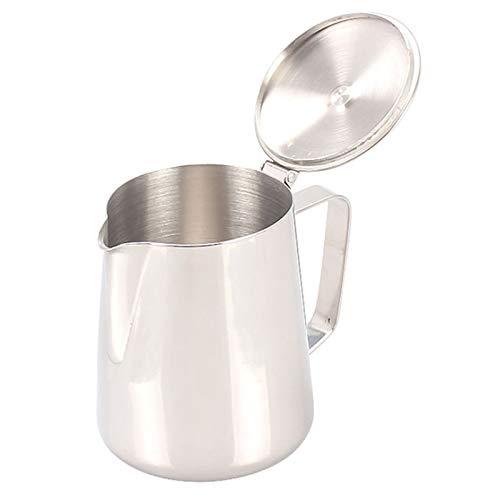 GFHTH Milchkanne Edelstahl Pull Flower Espresso Frothers Aufschäumen Garland Cup Milchkännchen Große Kapazität Kaffeekanne Mit Induktionsherd 1000 Ml Silber