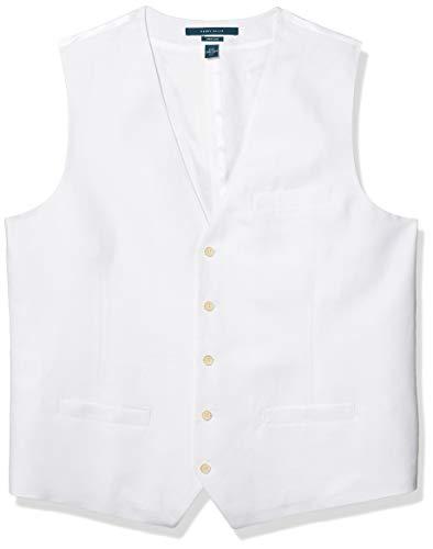 Perry Ellis Traje de chaleco de sarga de algodón de lino - blanco - Large