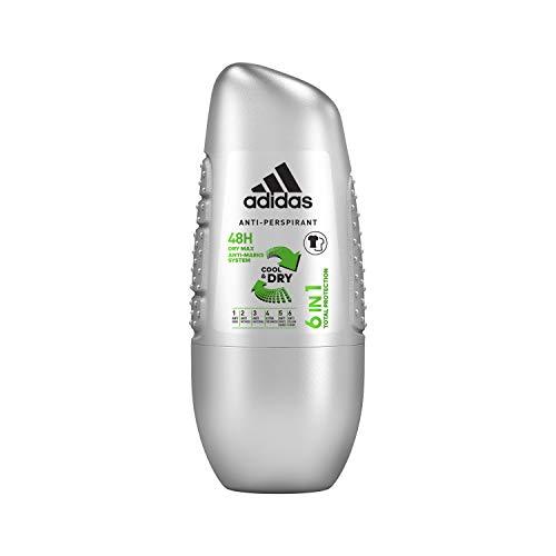 adidas 6-in-1 Deo Roller für Herren – Erfrischendes Antitranspirant gegen Schweißgeruch, Achselnässe, weiße Flecken, gelbe Verfärbungen & Bakterien – pH-hautfreundlich – 1 x 50ml