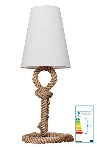 II Tischleuchte Tischlampe Stehlampe Ragnar Tau Seil Leinen Creme Natur Spektrum: A++ bis E (inkl. Wohnzeitschrift)