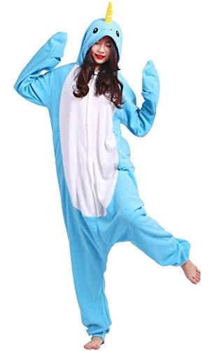 Pijama Animal Entero Unisex para Adultos con Capucha Cosplay Pyjamas Azul Narval Ropa de Dormir Traje de Disfraz para Festival de Carnaval Halloween Navidad
