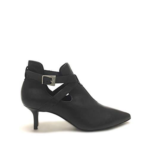 Shoe gar Tronchetti a Punta con Cinturino Neri Apertura Laterale Vera Pelle Made in Italy