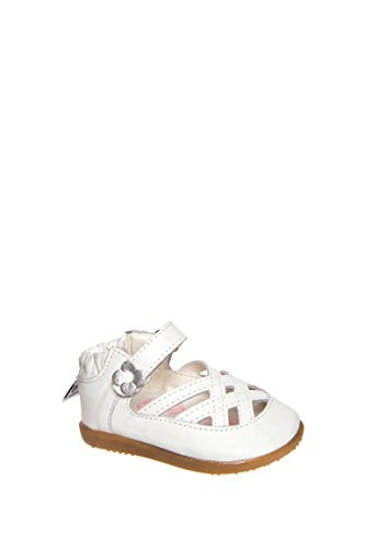 ShooShoos - Zapatitos de piel suela dura, sandalias blancas con flor