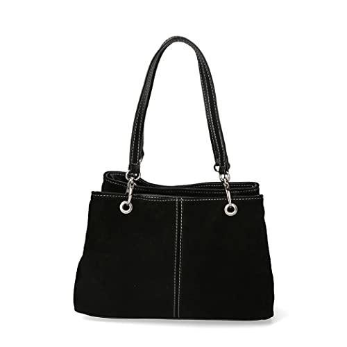 Borsa da donna borsa in pelle scamosciata borsetta italiana - Nero