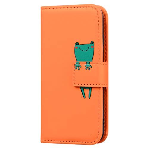 Karomenic PU Leder Hülle kompatibel mit Samsung Galaxy S7 Karikatur Frosch Handyhülle Brieftasche Silikon Bookstyle Schutzhülle Klapphülle Ledertasche Ständer Wallet Flip Case Schale Etui,Orange