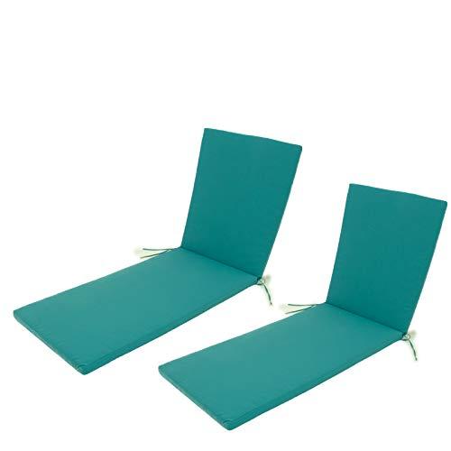Edenjardi Pack 2 Cojines para Tumbona de Exterior Color Turquesa, Tamaño 196x60x5 cm, Repelente al Agua, Desenfundable