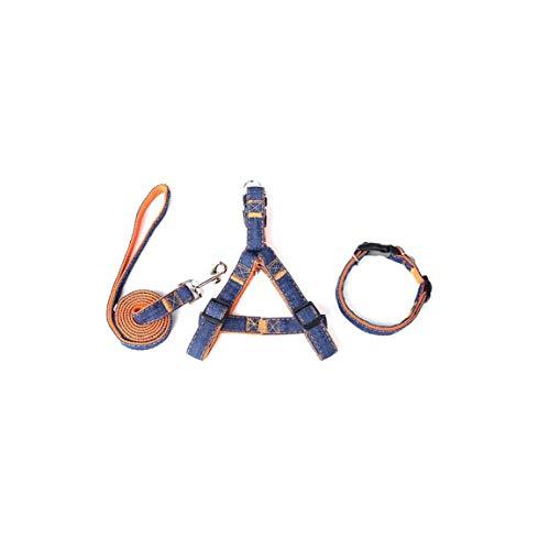 shentaotao Denim Heavy Duty Hundehalsband Leine Geschirre & Zugseil Leine für das tägliche Training Walking Laufen - Kleine und große Hunde orange 3pcs (XL)